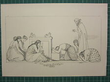 1880 PRINT JOHN FLAXMAN AESCHYLUS MYTHOLOGY ~ SUPPLICANTS PRAYING ALTAR MAIDENS
