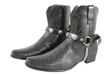 Men Biker Boots Chains Pair Black Leather Strap Indian Native American Charm