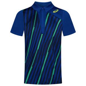 Asics Men's Polo Shirt Club Graphic Short Sleeve Tennis Polo - Blue - New