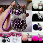 Universal Bling Crystal Diamond Cute Car Key Case Holder Cover Keychain Ring NEW