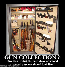GUNS AMMO COLLECTION HUMOR SECURITY GUN CABINET MAN CAVE TOOL BOX  MAGNET