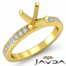 Round Semi Mount Pave Setting Diamond Women Wedding Ring 18k Yellow Gold 0.5Ct