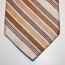 NEW Linea Uomo Silk Neck Tie Light Beige w Brown and Light Blue Pattern 1362