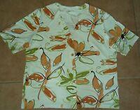 Damen-Bluse-T-Shirt 40-42 M Trikot-Oberteil LUCIA kurzarm Weste weiß orange grün
