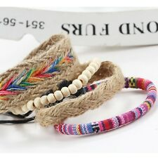 4Pcs/Set New Men Women Ethnic Boho Multilayer Beads Bracelet Bangle Jewelry