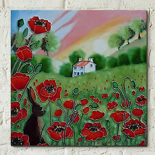 "Poppy Meadow Hare Sunset Ceramic Picture Tile Wall Art Plaque Kitchen 8x8"" 05297"