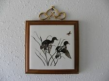 Vintage Ducks & Cattails Framed Ceramic Tile Wall Hanging Decor Approx.10x8 Inch