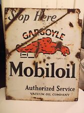 Original 1920s 30s Porcelain MOBILOIL GARGOYLE Vacuum Oil Comp Sign Gas Station