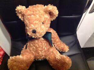 Tesco Cuddle Me Friends Traditional Bear brown soft toy plush teddy green ribbon