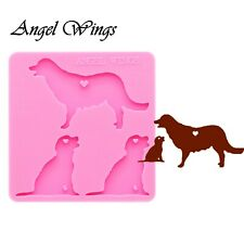 Golden Retriever Dog Family Mother Baby Silicone Mold Keychain Pendant Resin DIY