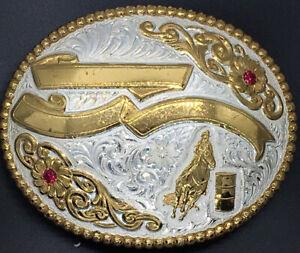 GARY GIST Crumrine Belt Buckle Barrel Racer Horse Rodeo Western Cowboy W/Gems