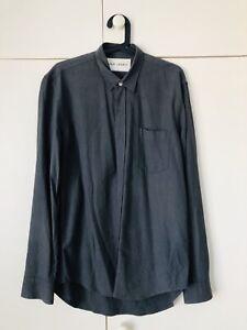 Our Legacy Men Silk Long Sleeve Classic Shirt In Dark Grayish Green Size 48