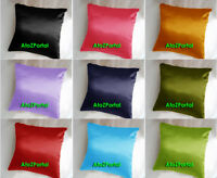 Satin Plain Cushion Cover Decorative Indian Pillow Toss Sofa Throw Ethnic Case