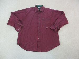 Tommy Hilfiger Button Up Shirt Adult Large Red Black Long Sleeve Casual Men A67*