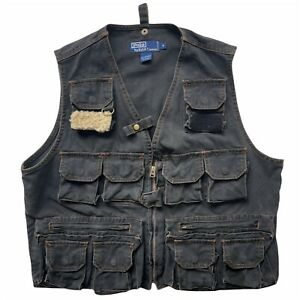 Vintage POLO Ralph Lauren size Medium Black Denim Fishing Hunting Utility Vest