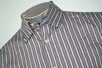 15836-a Mens Peter Millar Dress Shirt Size Medium Brown Blue Striped