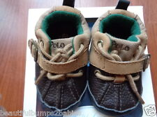 BABY BOYS RALPH LAUREN BASEBALL BROWN BUCKLE SHOES SIZE 1.5 AGE 3-6 MONTHS BNIB