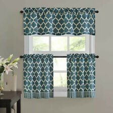 Teal and White Fretwork 3-Piece Window Valance and Tier Set, New In Package