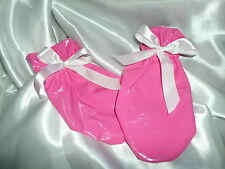 ADULT BABY SISSY  PINK SHINY  PVC  MITTENS  WHITE  SATIN  TIES