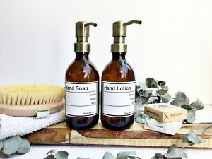 REFILLABLE AMBER BOTTLES, BATHROOM DECOR, SET OF 2, SCANDI STYLE, SOAP DISPENSER
