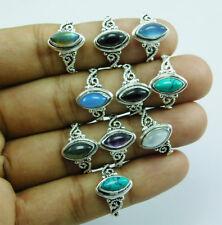 Hot Selling 925 Silver Overlay New Fashion Mix Gemstone 10 pcs Ring Lot-134