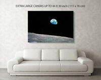 NASA Earth Rise from Apollo 8  Canvas Box Art/ Photo Print A4-A0