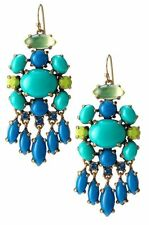 Blue turquoise glass Aviva earrings dangling dot stud chandelier earrings