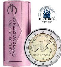 25 Münzen Italien 2 Euro 2011 Gedenkmünzen prägefrisch in Rolle