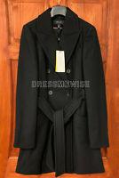 KAREN MILLEN Double-Breasted Belted Wrap Winter Warm Coat Smart Jacket in Black