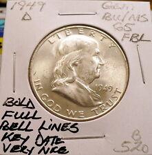 1949-D FRANKLIN HALF DOLLAR GEM BU/MS, BOLD FULL BELL LINES, KEY DATE SHARP B520