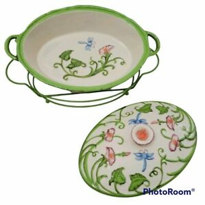 Temptations Bakeware Dragoonfly 2 Qt Floral Oval Baking Dish With Rack QVC