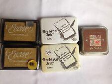 5 Ink stamp pads. Encore, Archival Ink, Nick Bantock. Gold, brown, new unopened