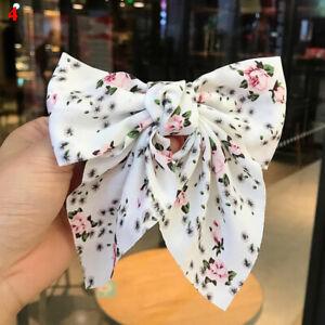 Women Sweet Floral Chiffon Hair Clip Hairpins Bowknot Metal Ponytail Barrettes