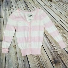 Abercrombie & Fitch KIDS Girls M Pink Ivory Striped Cashmere Blend Cardigan