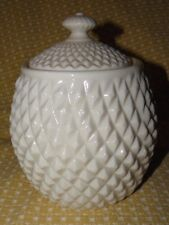 BELLEEK DIAMOND CUT LIDDED BARREL BISCUIT JAR~6TH MARK/3RD GREEN Circa 1965/80