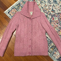 LL Bean Women's Button Up Pink Cardigan Sweater Size Medium Regular wool blend
