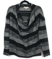 Michael Kors Draped Long Sleeve Blouse Top Striped Black Gray Woman's Size L