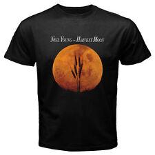 Neil Young Harvest Moon Logo Men's Black T-Shirt Size S-3XL 100% cotton