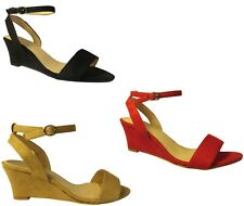 Ladies Women Summer Casual Peep Toe Ankle Strap Wedge Sandals Size 3-8 H20442