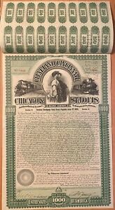 USA GREEN RARE Cleveland Cincinnati Chicago & St. Louis Railroad 1000$ Bond