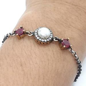 Deco 4.00ctw Pearl, Ruby & Diamond Cut Sapphire 14K Yellow Gold Silver Bracelet