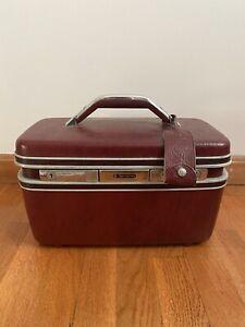 Vintage Samsonite Train Case Burgundy w/ Key No Tray,