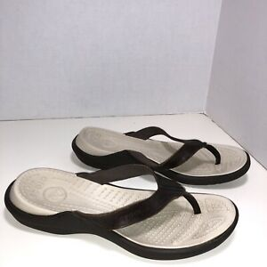 Crocs Men Brown Leather Thong Flip Flop Sandal 10