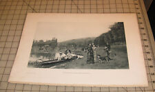 1889 ON THE BANKS OF THE SEINE AT BOUGIVAL, By Jules L. Stewart ENGRAVING