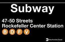 Rockefeller Center N Y City Subway Station Sign Metal