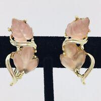 Vintage Pink Satin Pressed Glass Leaf Earrings Screwback Signed MM