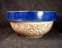 Antique Spongeware Stoneware Pottery 9 Inch Mixing Bowl with Cobalt Blue Band