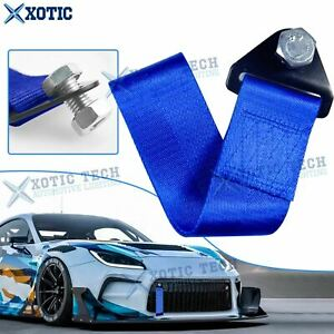 High Strength Vehicle Racing Tow Strap Bumper Towing Hook Blue For Lexus Toyota