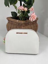 Michael Kors Cosmetic Bag Jet Set Large Travel White Leather Dome Zip  M4