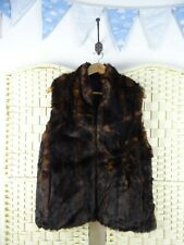 FAUX FUR dark brown lined fluffy cute zip up  boho/festival jacket/gilet M/L